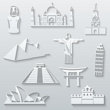 torii: Hitos Mundo, abstractos iconos de papel plana set - Moai, Taj Mahal, Kremlin, Keops Pir�mide, el Cristo Redentor, Torre inclinada, pir�mides mayas, Puerta Torii, Sydney Opera House y la Gran Muralla