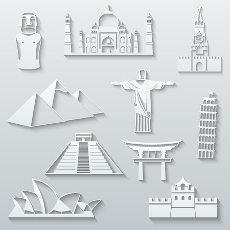 cheops: World landmarks, abstract flat paper icons set - Moai, Taj Mahal, Kremlin, Cheops Pyramid, Christ the Redeemer, Leaning Tower, Mayan Pyramids, Torii Gate, Sydney Opera House and Great Wall
