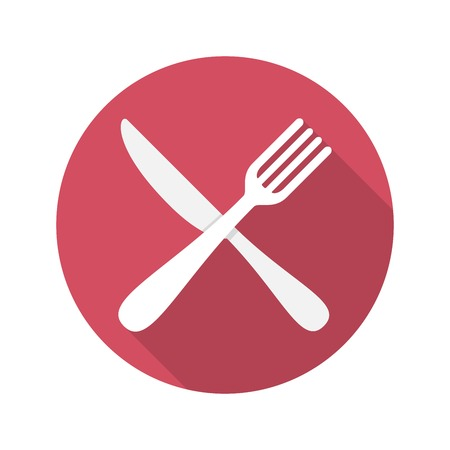 dinning table: Fork and Knife Icon With Long Shadow