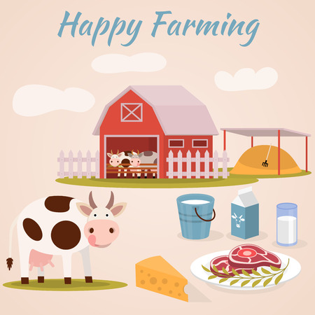 cattle: Cow farm. Dairy cattle - vector flat illustrations Illustration