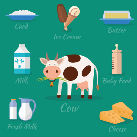 twarożek: Cow and milk products icons. Food and drink, cheese, butter, ice cream and baby food. Vector illustration