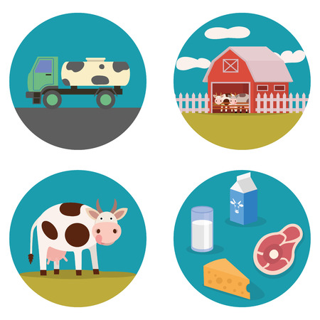 dairy products: Dairy products flat illustration with cow, milk wagon, yogurt, and milk dairy products