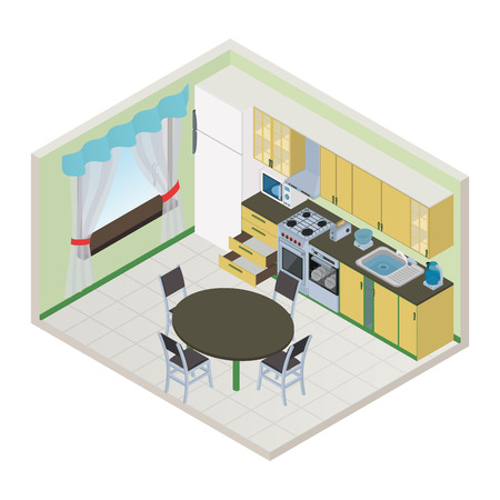 computer chair: Vector isometric kitchen interior - 3D illustration
