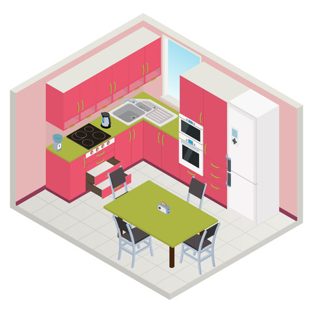 Vector isometric kitchen yellow color interior - 3D illustration Illustration