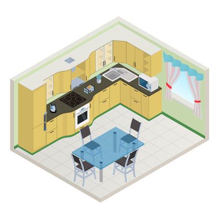 Vector isometric kitchen yellow color interior - 3D illustration Illustration