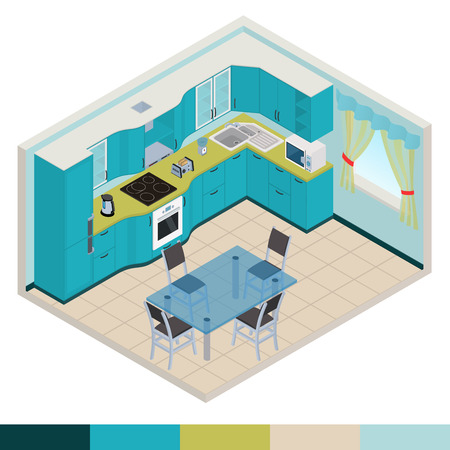 dining table: Vector isometric kitchen yellow color interior - 3D illustration Illustration
