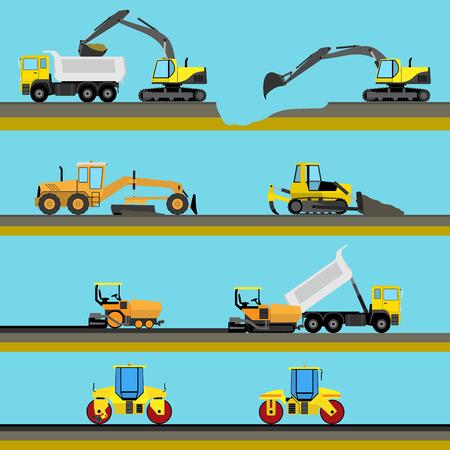Set di sfondo trasparente orizzontale costruzione di strade con le icone macchine per le costruzioni. Illustrazione vettoriale Vettoriali