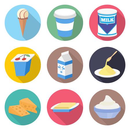 Los productos lácteos conjunto de iconos vectoriales - leche, yogur, helado, queso y mantequilla