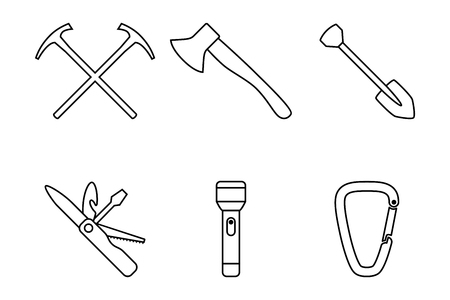 camping equipment: Camping equipment outline icons Illustration