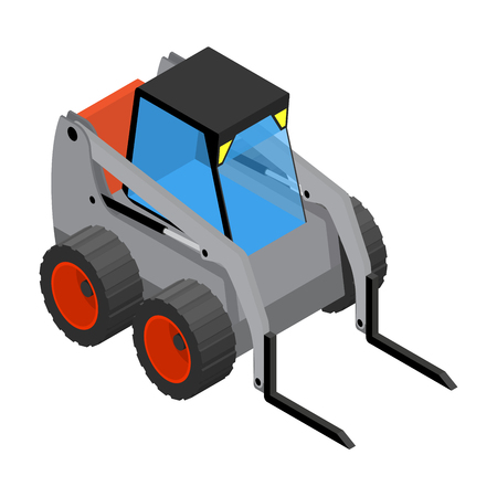 mini loader: Isometric icon representing gray mini loader Illustration