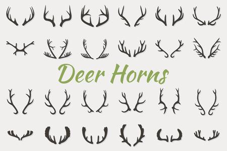 black deer: Black silhouettes of different deer horns, vector illustration