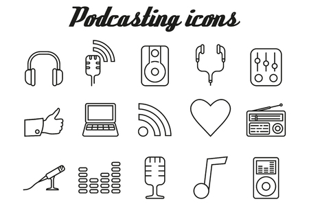 podcasting: Audio podcasting icons - vector linear symbols Illustration