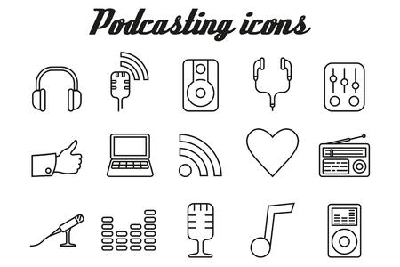 blog icon: Audio podcasting icons - vector linear symbols Illustration
