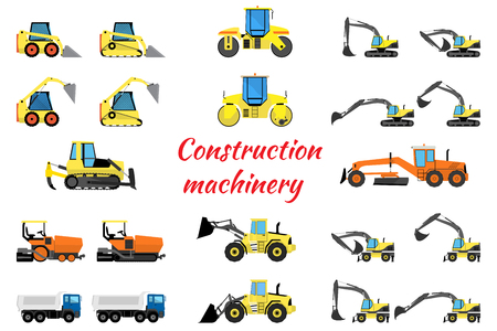 loaders: Set construction equipment - excavators, loaders, rollers, pavers and trucks
