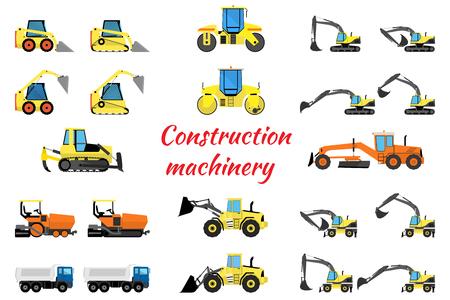road grader: Set construction equipment - excavators, loaders, rollers, pavers and trucks