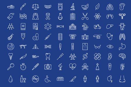 bacteria in heart: 80 medical outline icons set over blue background. Illustration