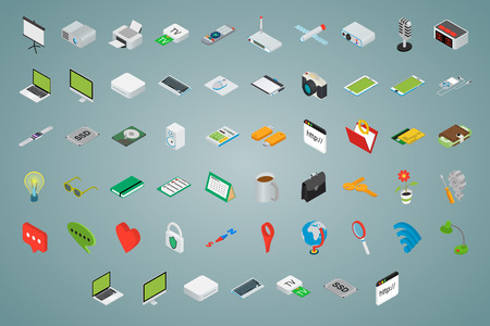 computer icons: Big set of isometric volumetric of icons on a theme of computer technology and office equipment.