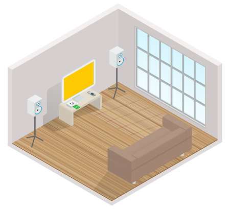 surround system: isometric interior of the room with a TV, sofa and window Illustration