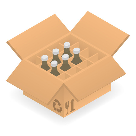 cold pack: Isometric cardboard box with group bottles