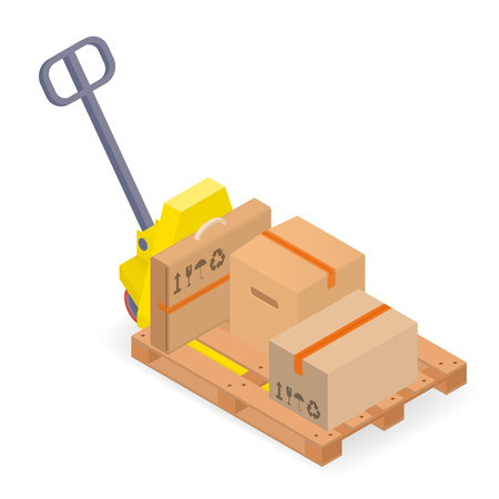 warehouse equipment: Warehouse equipment - a pallet truck with pallet and cardboard boxes