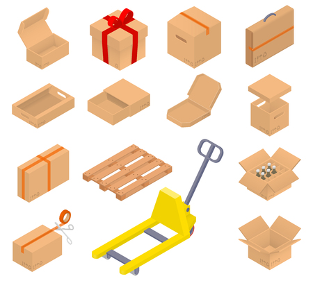 storage facility: Collection of cardboard boxes. Open, closed, sealed with tape, with cover, for pizza, bottles inside. Bonus! the pallet and pallet truck. Isometric Illustration.