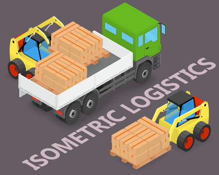 storage facility: Isometric logistics - Process of loading and unloading the trucks with a forklift - isometric illustration