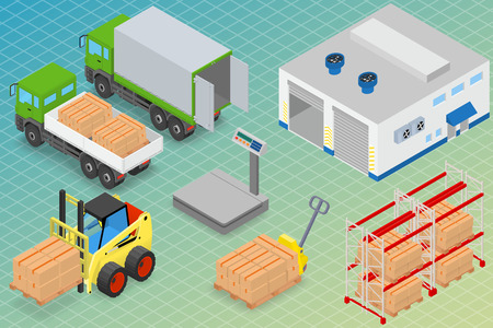 unloading: Loading or unloading a truck in the warehouse. Forklifts move the cargo. Warehouse equipment. Isometric vector illustration.