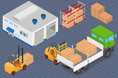 Cargando o descargando un camión en el almacén. Carretilla elevadora de mover la carga. equipos de almacén. ilustración vectorial isométrica.