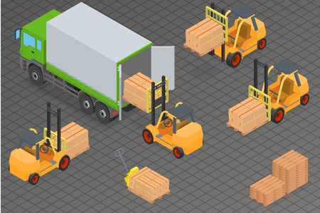 warehouse equipment: Loading or unloading a truck in the warehouse. Forklifts move the cargo. Warehouse equipment. Illustration