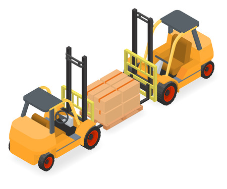 elevate: Forklifts elevate the pallet with cardboard boxes - two isometric views vector illustration