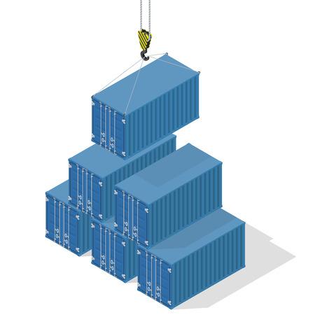 Pirámide de contenedores marítimos. El contenedor superior bajó la grúa - ilustración isométrica con sombras