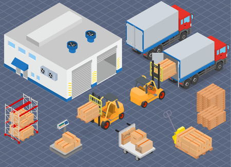 warehouse interior: Loading or unloading a truck in the warehouse. Forklifts move the cargo. Warehouse equipment. Isometric vector illustration.
