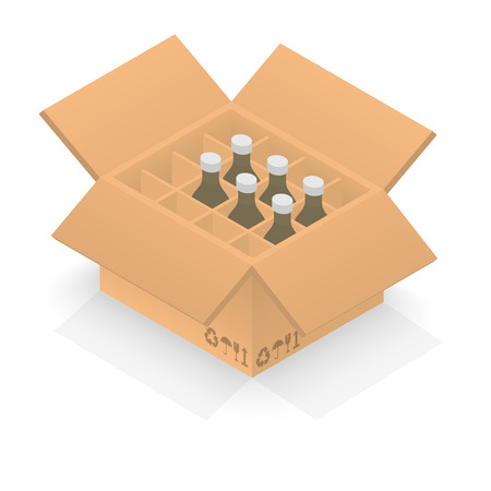 Isometric cardboard box with group bottles