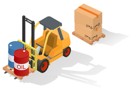 work crate: Isometric forklift truck with barrel on wooden pallet. Isolated on white background