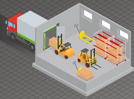 warehouse interior: Loading or unloading a truck in the warehouse. Forklifts move the cargo. Warehouse equipment. Illustration