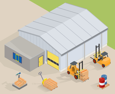 Big warehouse with office. Near forklifts, pallet truck, scales and barrels - isimetric vector illustration