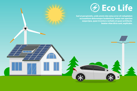 save nature: Preserving the environment and using renewable energy sources - solar and wind. Eco house, hybrid car and street lighting. Illustration