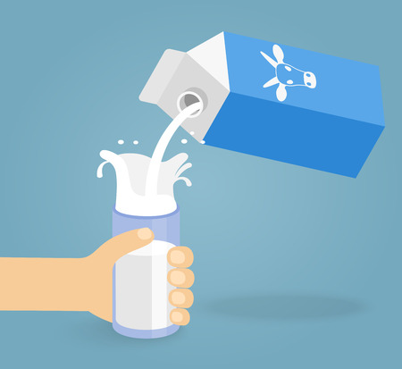pouring: Illustration of pouring a glass of milk creating splash Illustration