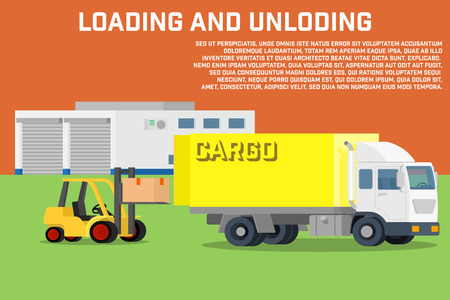 transportation facilities: Process of loading and unloading the trucks with a forklift