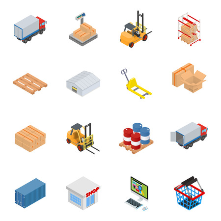 Vector warehouse equipment icon set Çizim