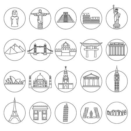 wonders: Popular travel landmarks icons - vector set of thin line monuments symbols or logo elements