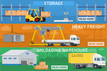 air port: Warehouse and logistics banner set. Storage of cargo and goods at the warehouse. Loading of heavy loads and long-range truck. Local logistics, carrying goods on shops Illustration
