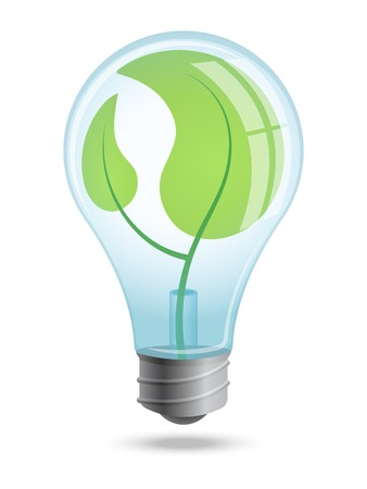 Light bulb with young shoots of plants inside the enclosure. Symbol environmentally friendly renewable energy.
