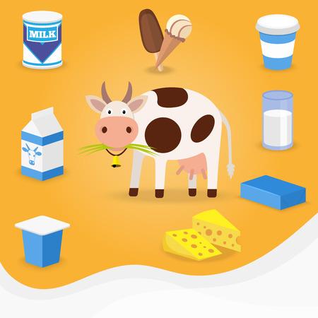 queso: Vaca y productos l�cteos iconos. Leche, queso, mantequilla, helados. ilustraci�n vectorial