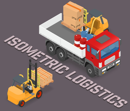storage facility: Process of loading and unloading the trucks with a forklift - isometric vector illustration Illustration