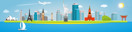 Long banner on the topic of traveling around the world. Landmarks in the background of the city. Opera House, Pisa, Eiffel, Big Ben, Tower, Statue of liberty, Kremlin, Christ Redeemer and Torii Gate. Illustration