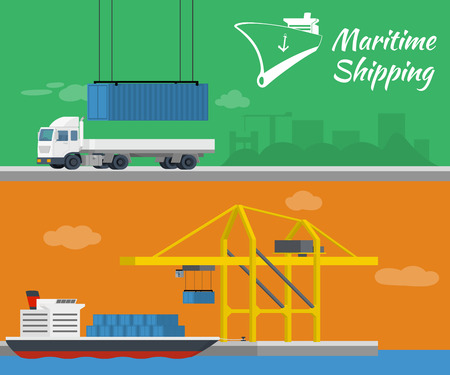 container port: Maritime shipping - vector banner. Container ship at freight port terminal. Truck delivery of container.