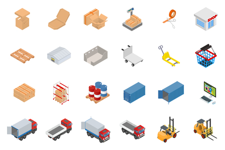 The big set of isometric objects on the topic of warehouse and logistics Vectores