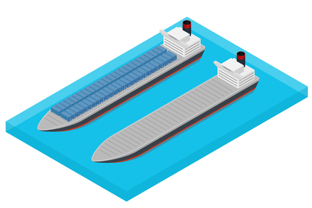 transportation facilities: Vector isometric container ship at sea - laden and empty