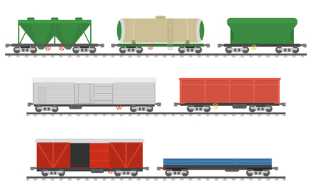 flatcar: Essential Trains. Collection of freight railway cars. Isolated on white background. Vector illustration Illustration
